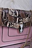 Рожева жіноча сумка зі вставкою рептилія код 7-1156, фото 4