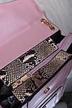 Рожева жіноча сумка зі вставкою рептилія код 7-1156, фото 5