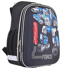 Рюкзак шкільний каркасний 1 Вересня H-12 Steel Force Чорний (555950)
