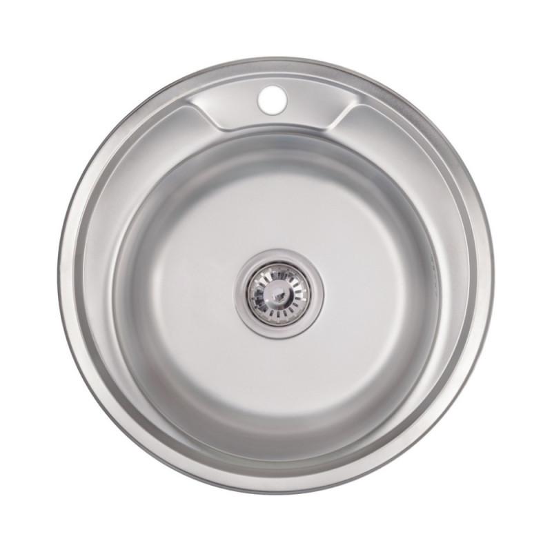 Кухонна мийка Lidz 490-A Satin 0,8 мм (LIDZ490ASAT)