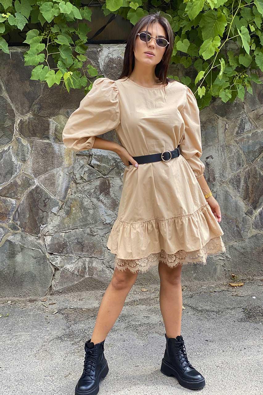 Романтическое платье over size с ажурной рюшей  PERRY - бежевый цвет, M (есть размеры)