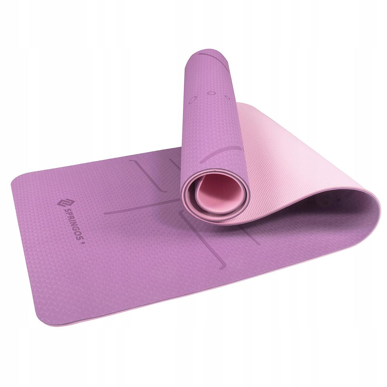 Коврик (мат) для йоги и фитнеса Springos TPE 6 мм YG0015 фиолетовый. Спортивный коврик для дома