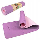 Коврик (мат) для йоги и фитнеса Springos TPE 6 мм YG0015 фиолетовый. Спортивный коврик для дома, фото 5