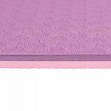 Коврик (мат) для йоги и фитнеса Springos TPE 6 мм YG0015 фиолетовый. Спортивный коврик для дома, фото 6