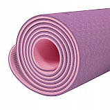 Коврик (мат) для йоги и фитнеса Springos TPE 6 мм YG0015 фиолетовый. Спортивный коврик для дома, фото 7