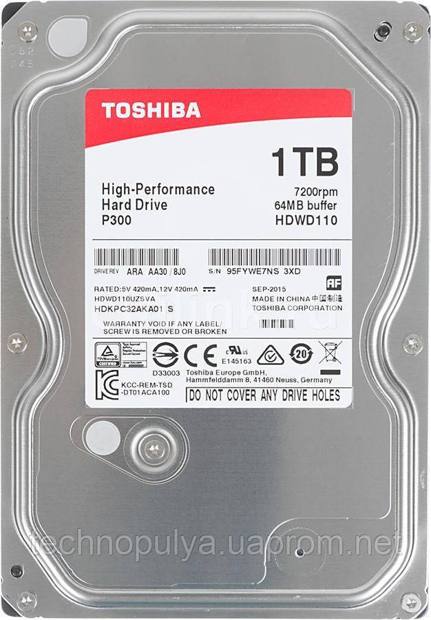 """Жесткий диск Toshiba P300 HDWD110UZSVA 1 Тб HDD SATA III 3.5"""" (100173)"""