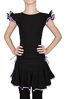 Юбка тренировочная для бальных танцев Dance&Sport NM 8 черная с фиолетовым, масло