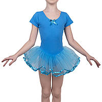 Купальник для хореографии и танцев Rivage Line KR 21 с юбкой-пачкой Голубой 120
