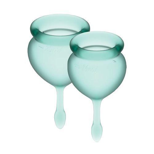 Набор менструальных чаш Satisfyer Feel Good (dark green), 15мл и 20мл, мешочек для хранения