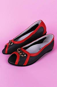Туфли подростоковые с открытым носком девочка серые Calorie 122285P