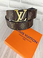 Шкіряний ремінь в стилі Louis Vuitton (Луї Вітон) ЛВ, фото 1
