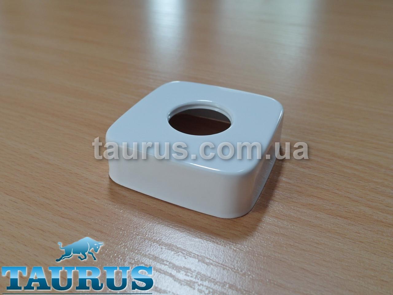 "Большой квадратный декоративный белый фланец CUBE 60x60х20 white d25 мм (3/4"") чашка, розета. TAURUS"