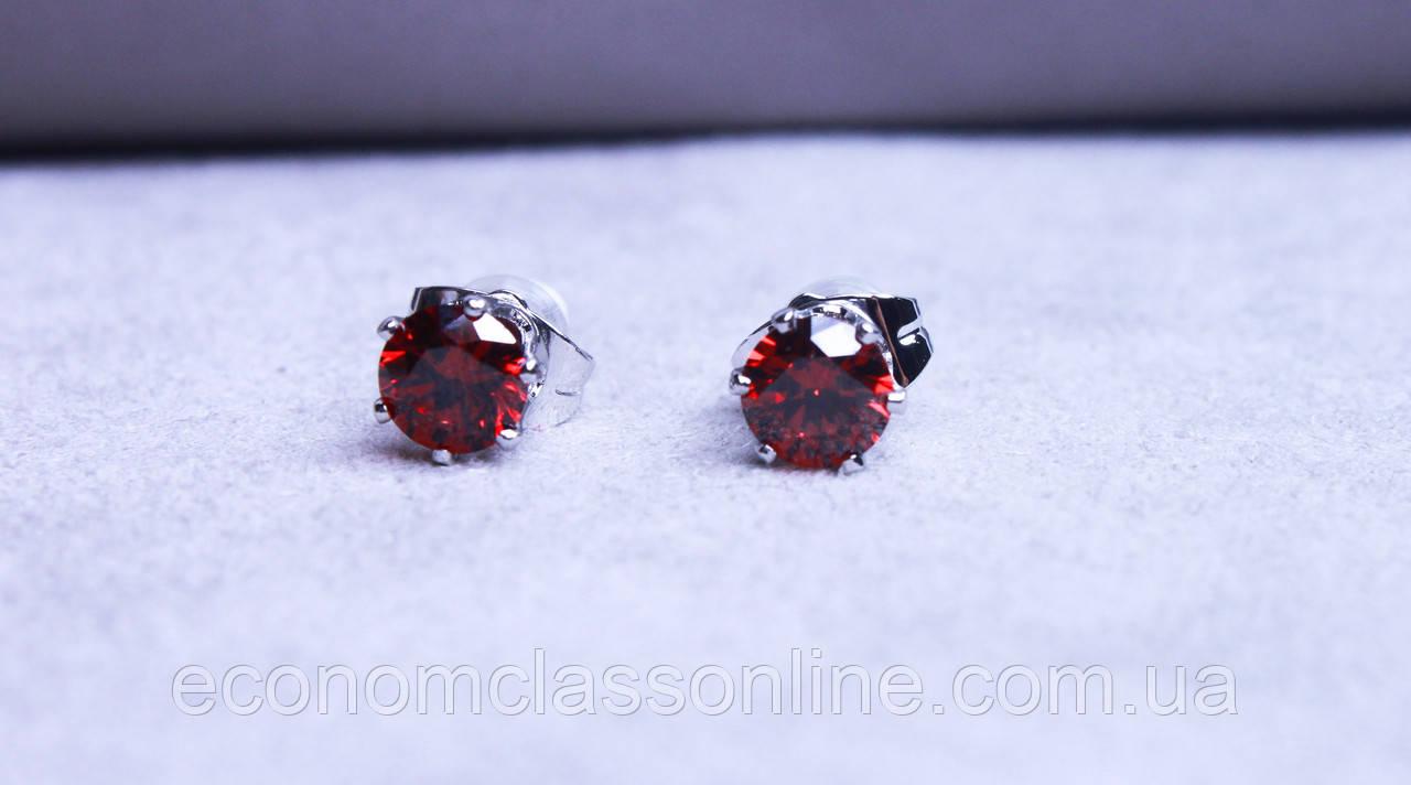 Серьги - гвоздики с камнями фирмы Xuping (Rhodium color ХР1016, 6мм Т0280 красные)