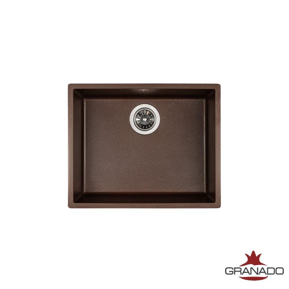 Кухонная мойка интрегрированная ГРАНИТ с евросифоном 535*435 мм Granado Under top Max Marron 3006