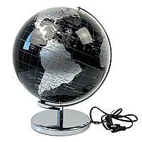 Глобус 32 см см диаметр c подсветкой Черно-серый