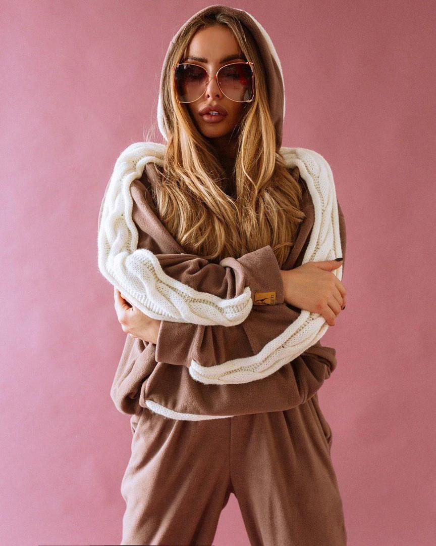 Оригинальный женский костюм с довязом, кофта с капюшоном и узором косы + штаны, цвет капучино