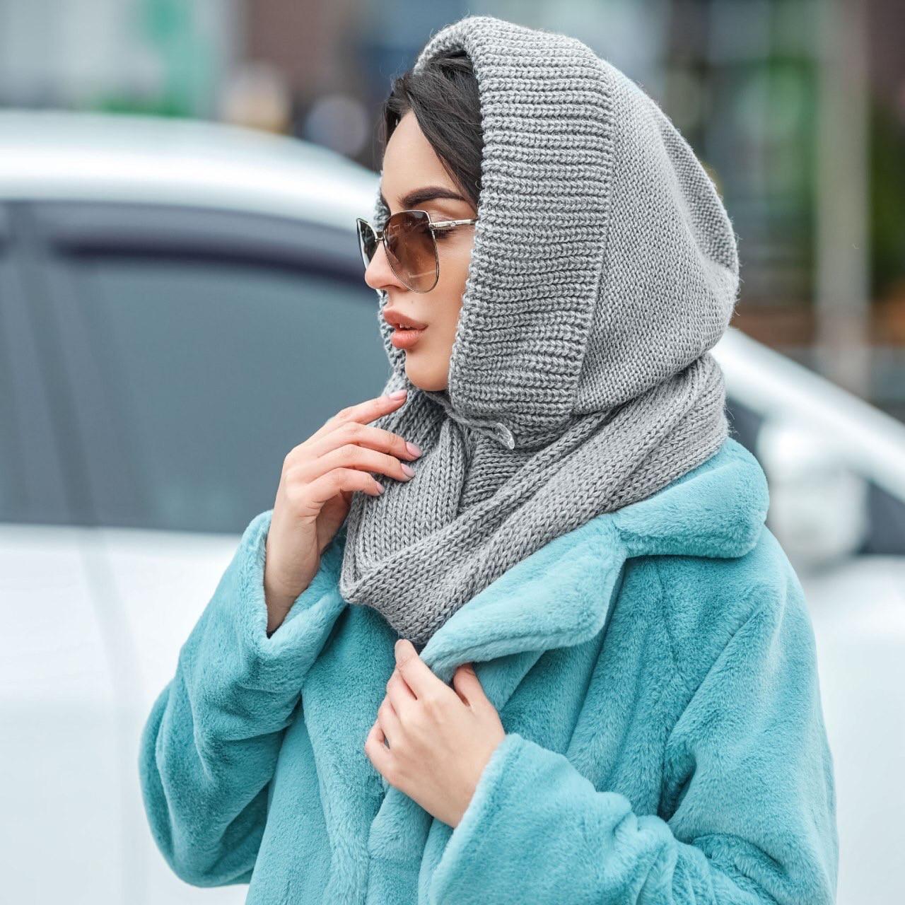 Капор шапка женский вязаный серый