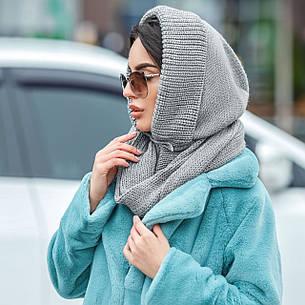 Капор шапка женский вязаный серый, фото 2