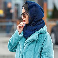Капор женский вязаный  синий шапка, фото 3