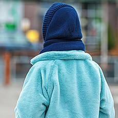 Капор женский вязаный  синий шапка, фото 2