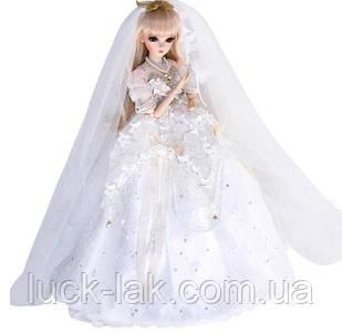 Шарнірна лялька наречена bjd автора Долорес ріст 60 см, білий колір + одяг і взуття в подарунок