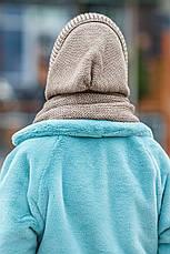 Капор женский вязаный бежевый шапка косынка, фото 3