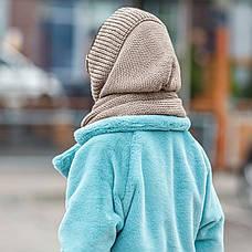 Капор женский вязаный бежевый шапка косынка, фото 2