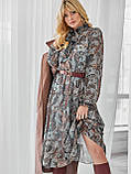 Шифоновое платье-миди с длинным рукавом, фото 7