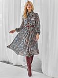 Шифоновое платье-миди с длинным рукавом, фото 6