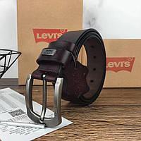 Мужской кожаный ремень Levi's. Брендовый коричневый ремень. Мужской подарочный набор.