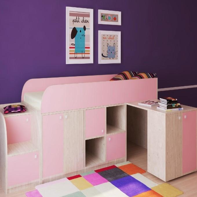 """Дитяче ліжко горище з робочою зоною """"Астра міні"""" Ліжко-горище з столом. 2323*832*1082 ЛДСП"""