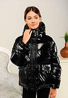 Модная демисезонная куртка Синди для девочки подростка на 8-14 лет черная