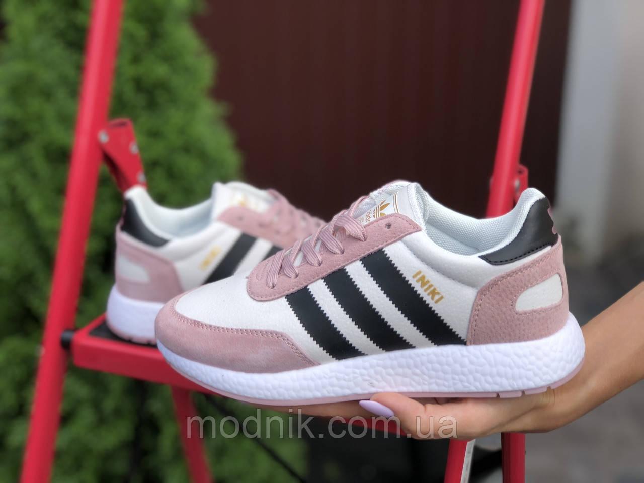 Женские кроссовки Adidas Iniki (бело-розовые с черным) 9775