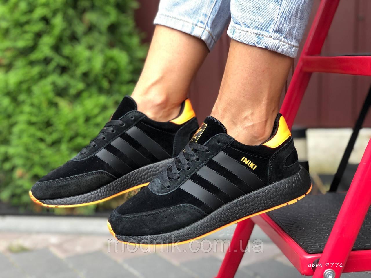 Женские кроссовки Adidas Iniki (черно-оранжевые) 9776
