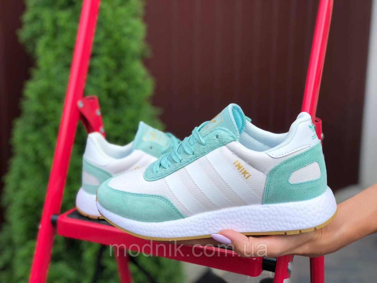 Женские кроссовки Adidas Iniki (бело-мятные) 9777