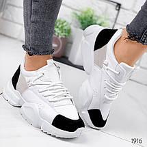 Кроссовки женские белые с черными вставками из эко замши кроссы эко кожа, фото 2