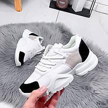 Кроссовки женские белые с черными вставками из эко замши кроссы эко кожа, фото 3