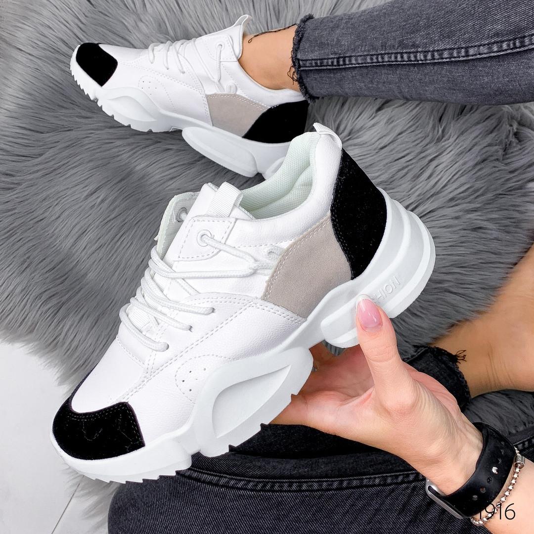 Кроссовки женские белые с черными вставками из эко замши кроссы эко кожа