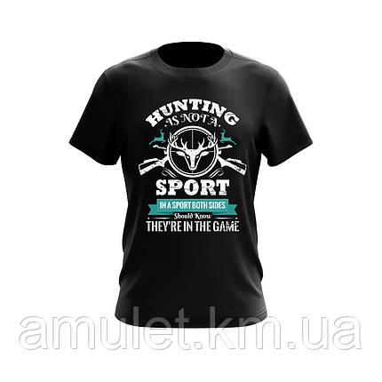 """Чоловіча футболка для мисливця з принтом """"Полювання"""" чорна, фото 2"""