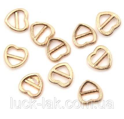 Мини пряжки сердечки для кукольной одежды, набор 5 шт., цвет - золото