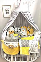 """Бортики ,захист в дитяче ліжечко , бортики в кроватку, Комплект бортиків-звіряток в дитяче ліжечко """"Літня ніч"""""""