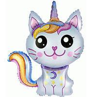 Фольгированный мини-шар Кошка-единорог голубая (Flexmetal)
