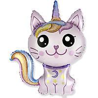 Фольгированный мини-шар Кошка-единорог розовая (Flexmetal)
