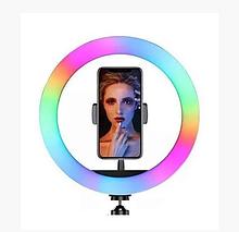 Лампа кольцевая селфи-лампа диаметр 20 см разные цвета с пультом Led кольцо MJ20 RGB