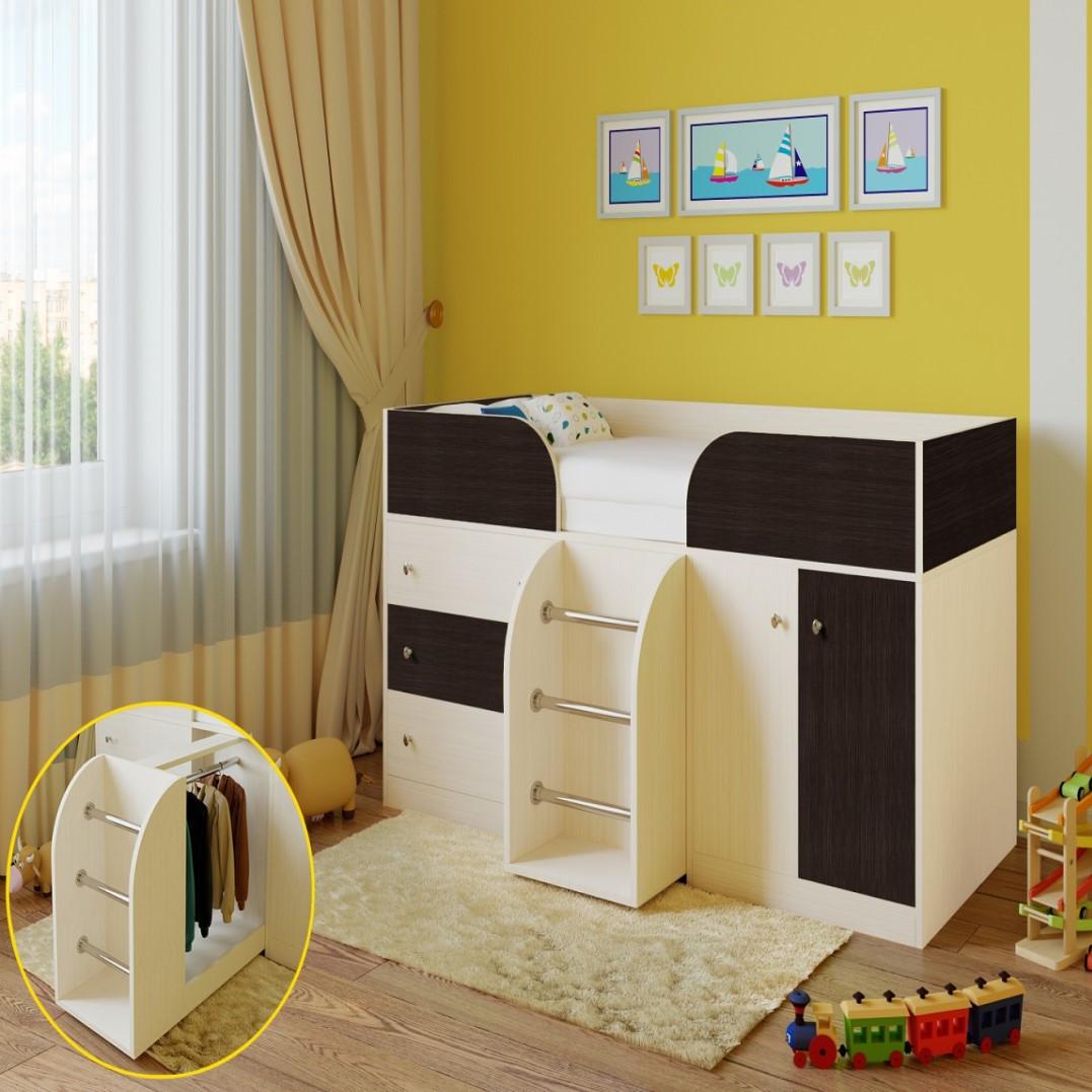 """Дитяче ліжко горище з шафою, ящиками для білизни та іграшок """"Астра 5""""Шафа ліжко-горище,ліжко трансформер"""