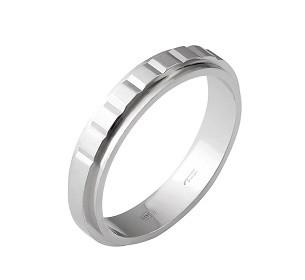 Серебряное обручальное кольцо с камнями 15.5