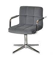 Кресло Arno-Arm Modern Base серый бархат В-1004, с подлокотникаими на стопах с регулировкой высоты