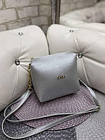 Женская сумка клатч серебристая маленькая сумочка через плечо кроссбоди молодежная кожзам, фото 1