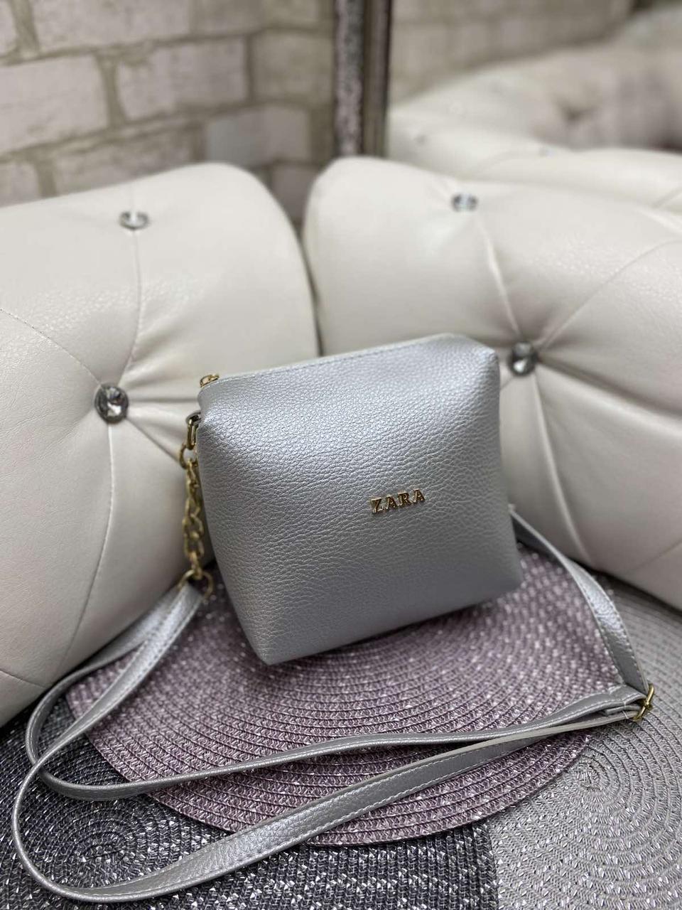 Женская сумка клатч серебристая маленькая сумочка через плечо кроссбоди молодежная кожзам