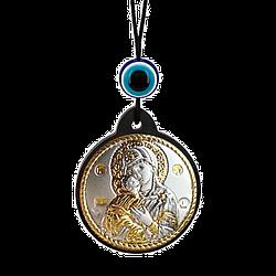 Брелок икона Владимирская Богоматерь серебряная с позолотой